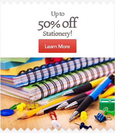 50% off Stationery