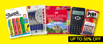 UP TO 50% OFF SCHOOL STATIONERY