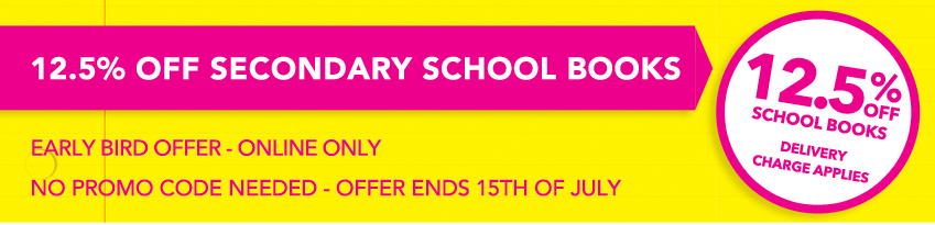 12.5% off secondary school books eason